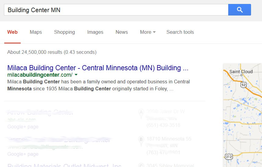 SEO for St. Cloud, MN - Milaca Bulding Center